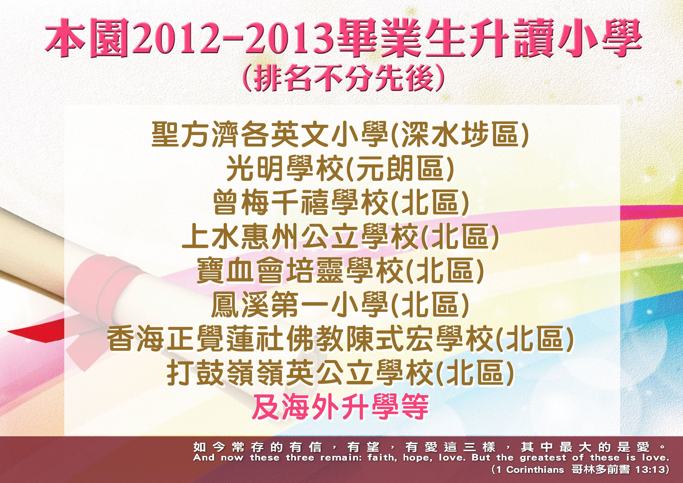 Photo of 本園2012-2013畢業生升讀小學